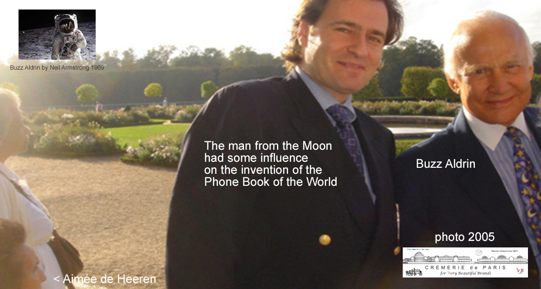 Buzz Aldrin, Apollo 11 astronaute and Ben Solms, editor of the Phone Book of the World walking around the parc of Versailles, 2005